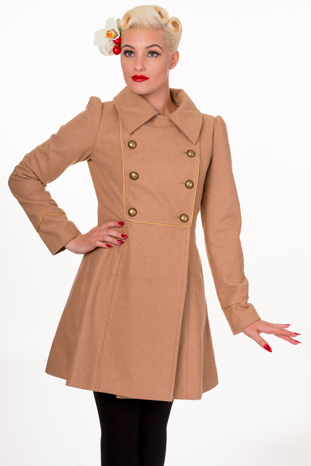 Banned Camel Into The Night 1940s Military Coat | Plus Size 40s ...