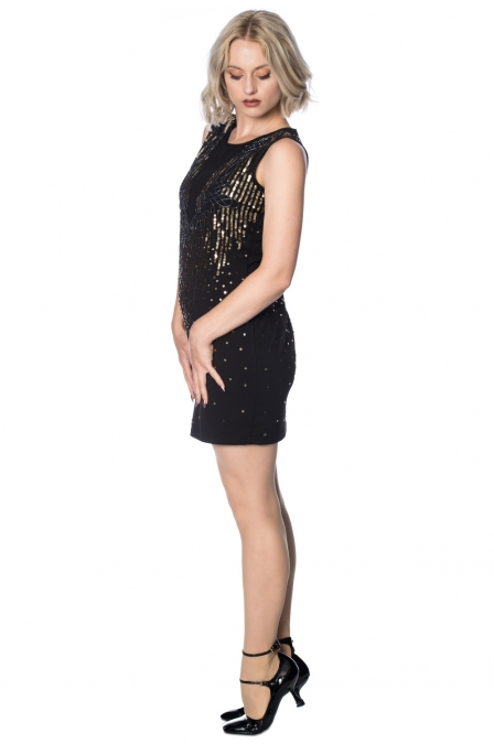 Great Gatsby Black Gold Vertical Stripe Dress