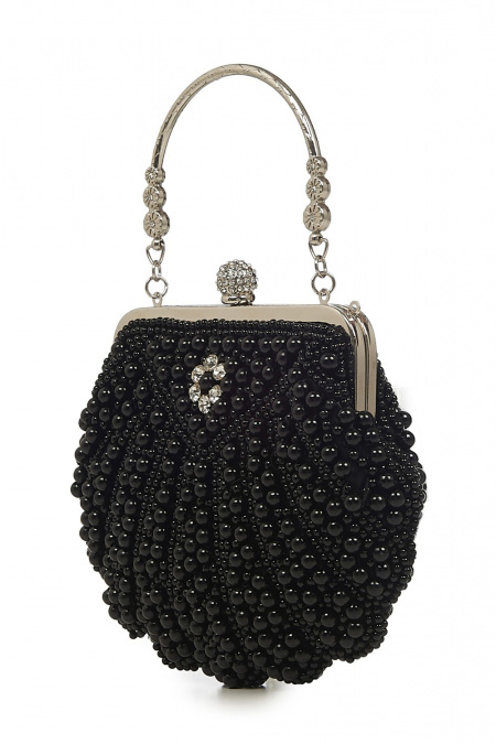 Banned Retro 20s Eleanor Black Beaded Handbag