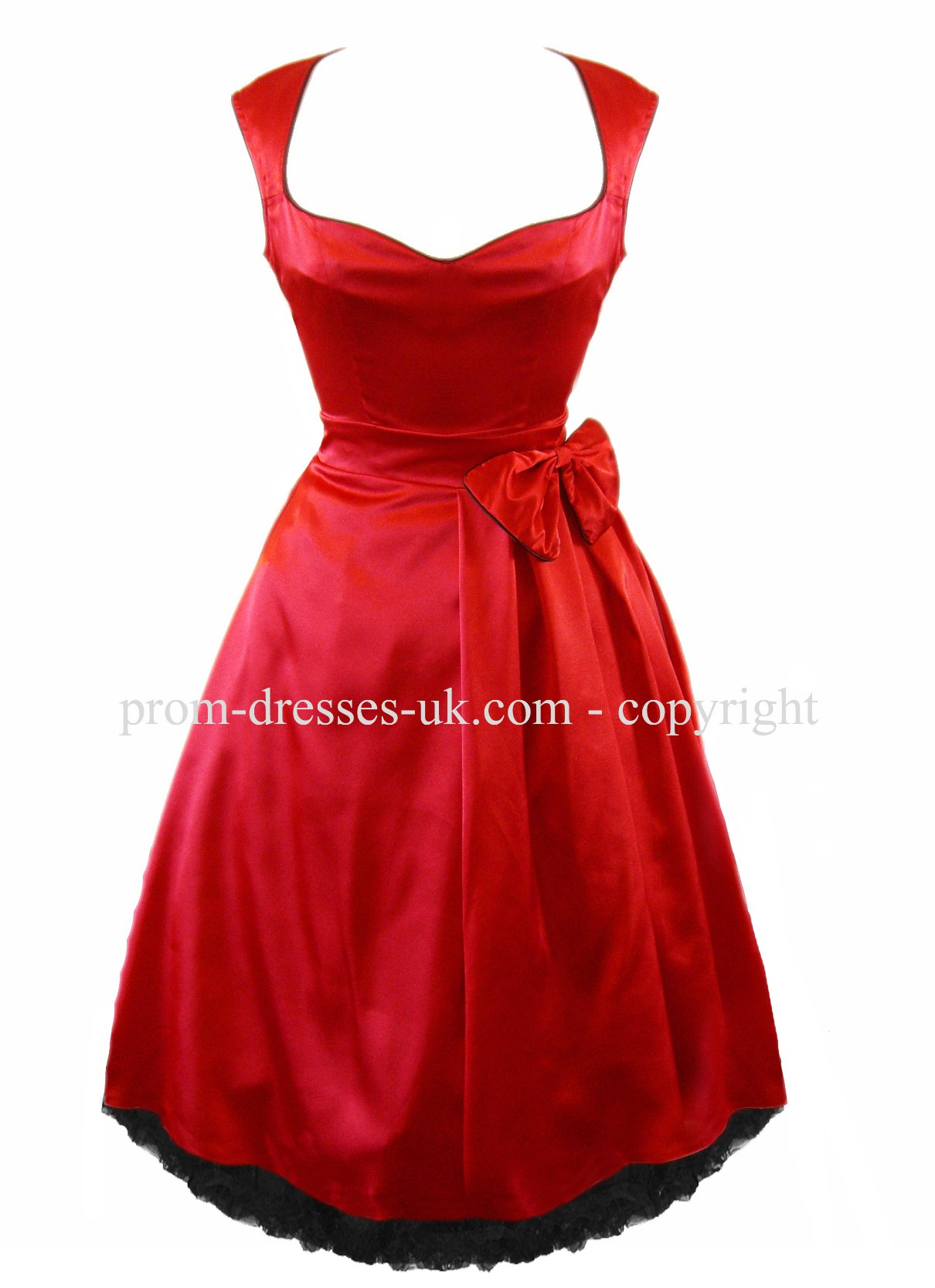 Go To Red Vintage Satin Prom Dress