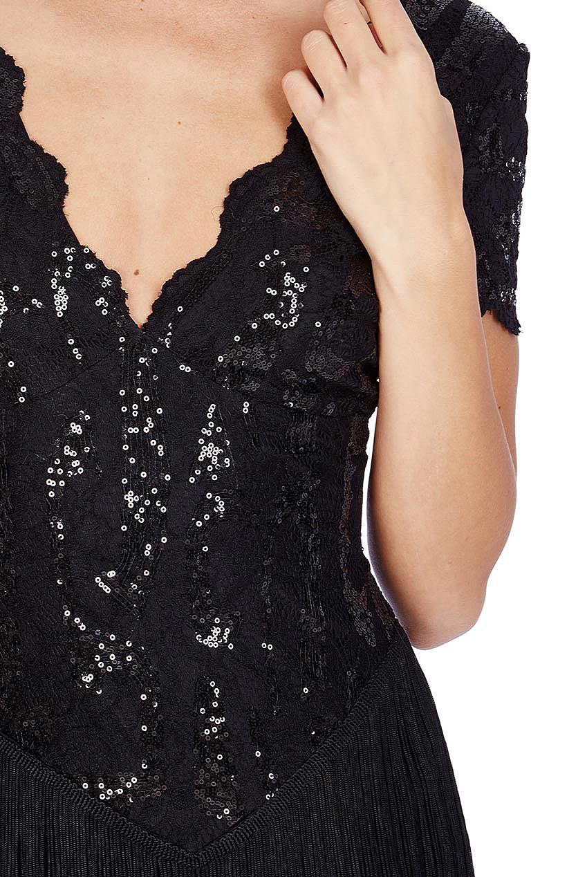 Black Sequin Downton Abbey Style Maxi Tassle Dress