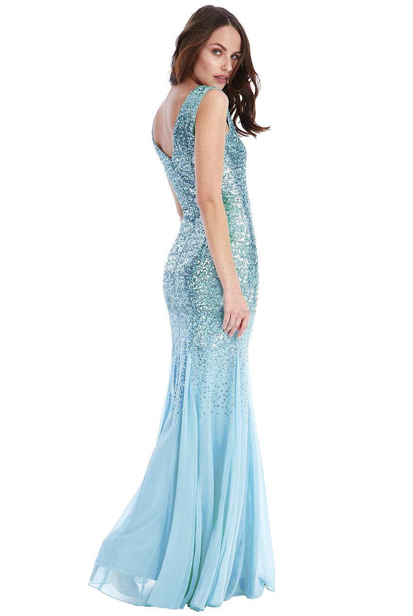 Blue Sequin Alexa Maxi Prom Dress
