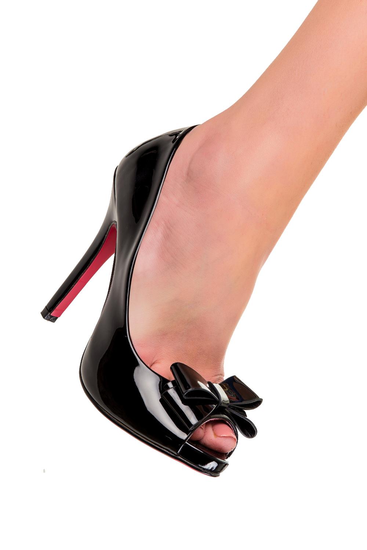 Dancing Days Felicity Lacquered Black 50s Stilettos