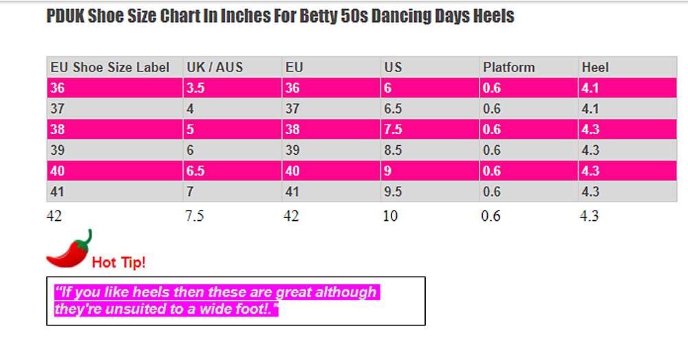 Dancing Days Betty T Bar Shoes Size Chart