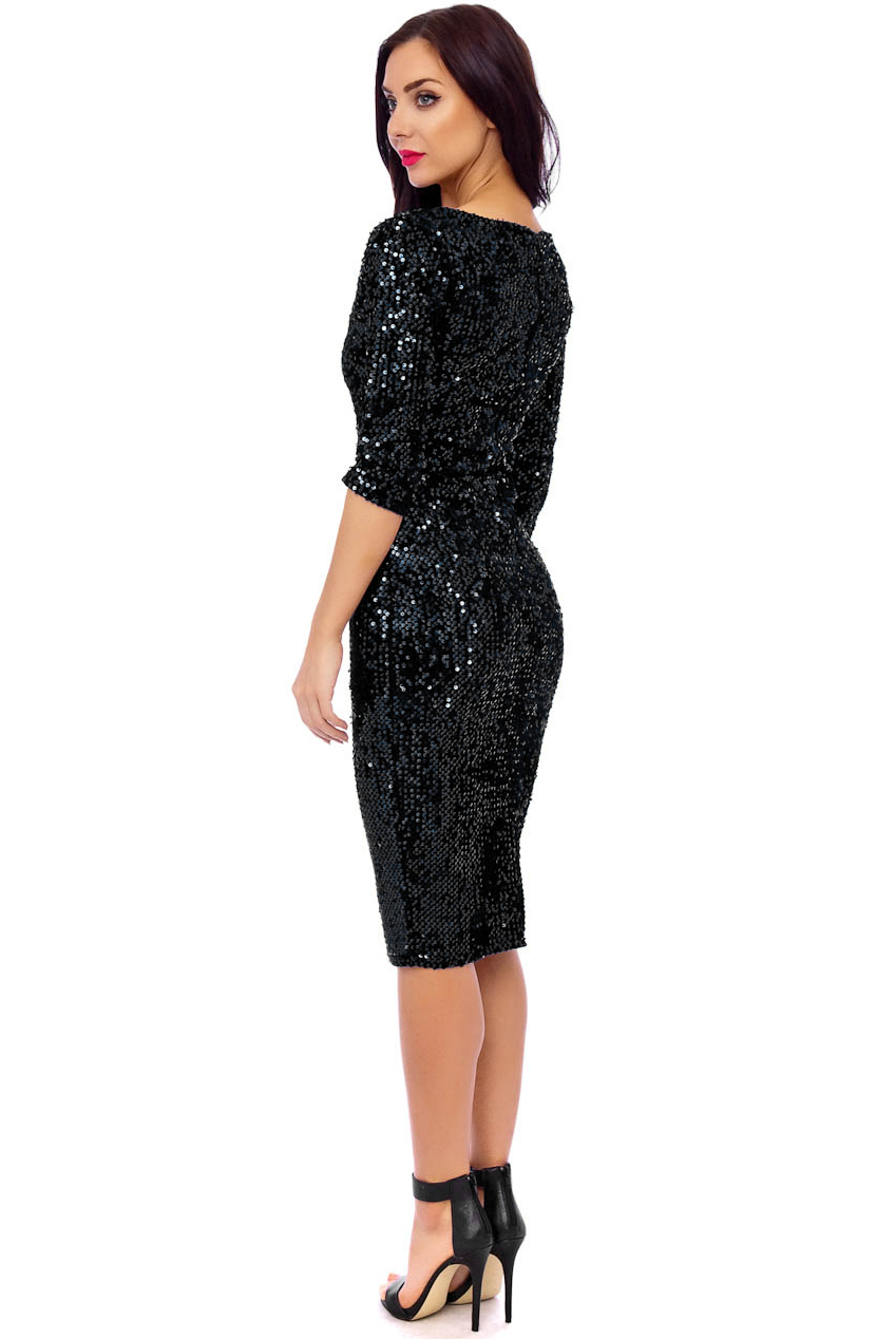 Vintage Black Big Sequin Abby 50s Pencil Dress