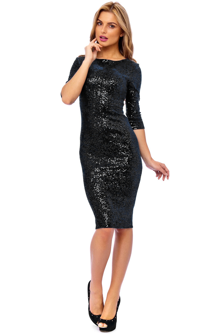 50s Audrey Black Sequin Velour Pencil Party Midi Dress