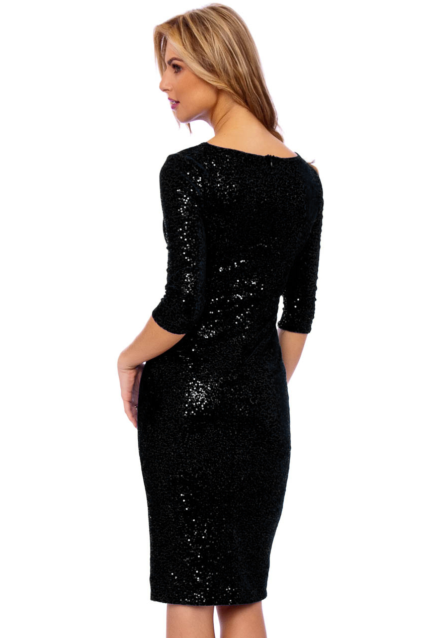 50s Audrey Black Sequin Velour Pencil Party Midi Dress