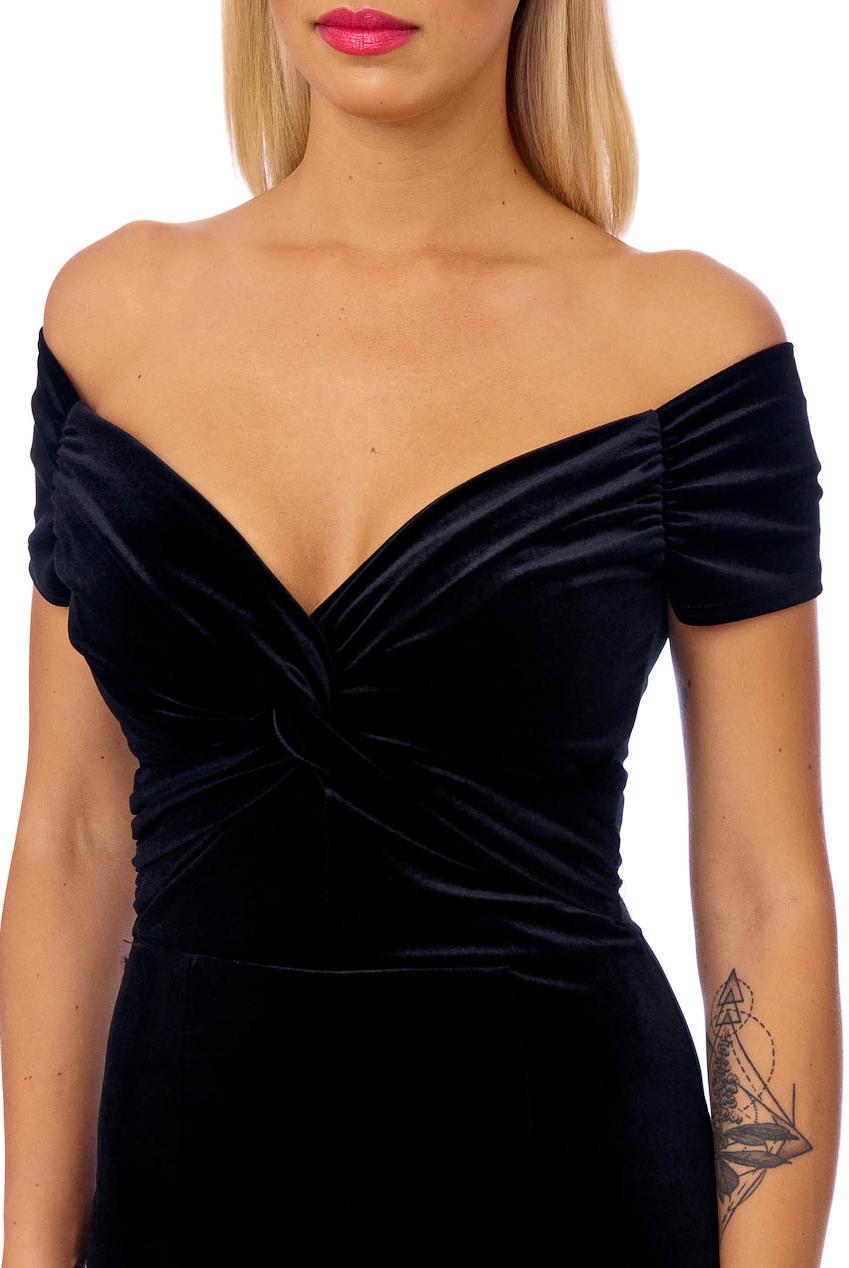 Vintage 50s Paloma Black Velvet Fishtail Maxi Dress
