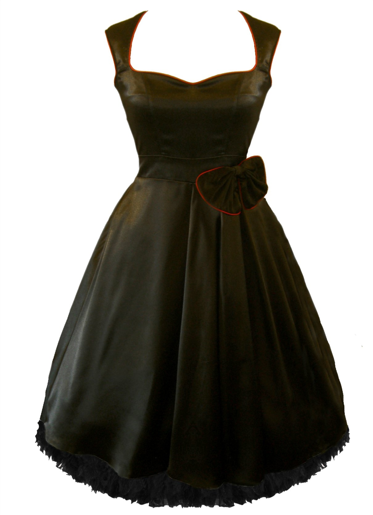 Enlarge Black Satin Bow Prom Dress