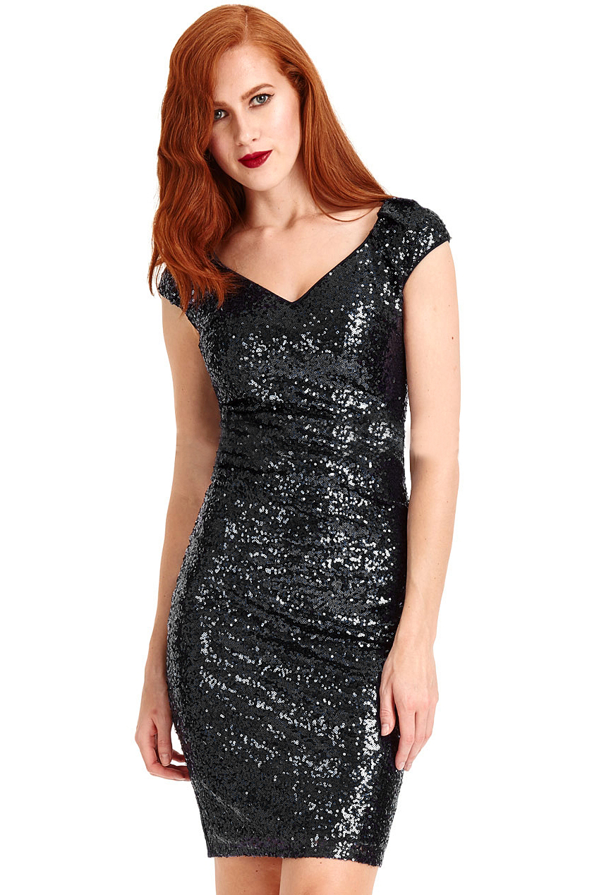 Black Sophia Sequin Mini Vintage Dress
