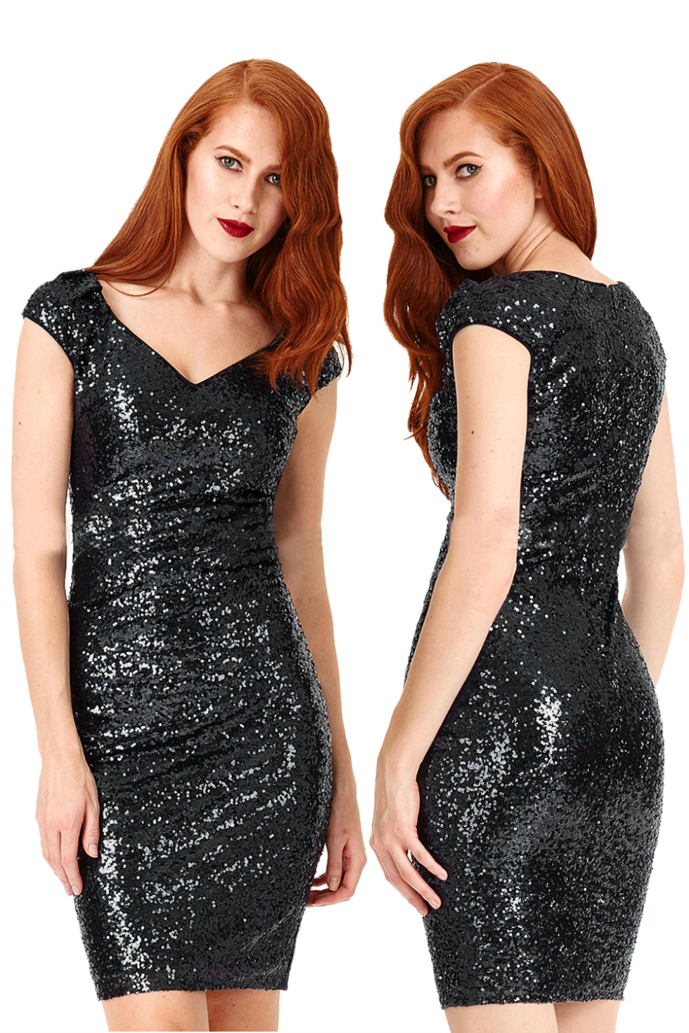 Black Sophia Sequin Mini Vintage Dress