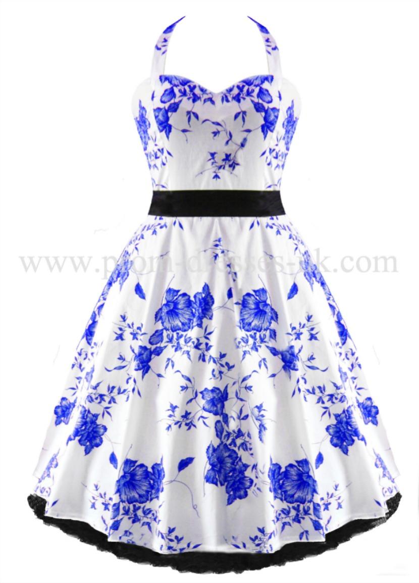 Go To Blue Floral Retro Dress