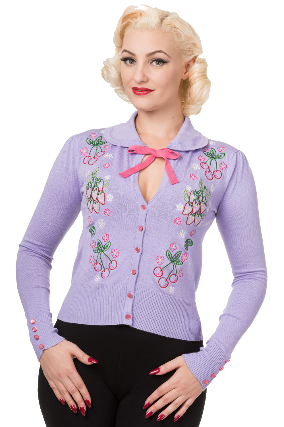 Banned Blue Dawn Lilac Strawberries Cherries Cardigan