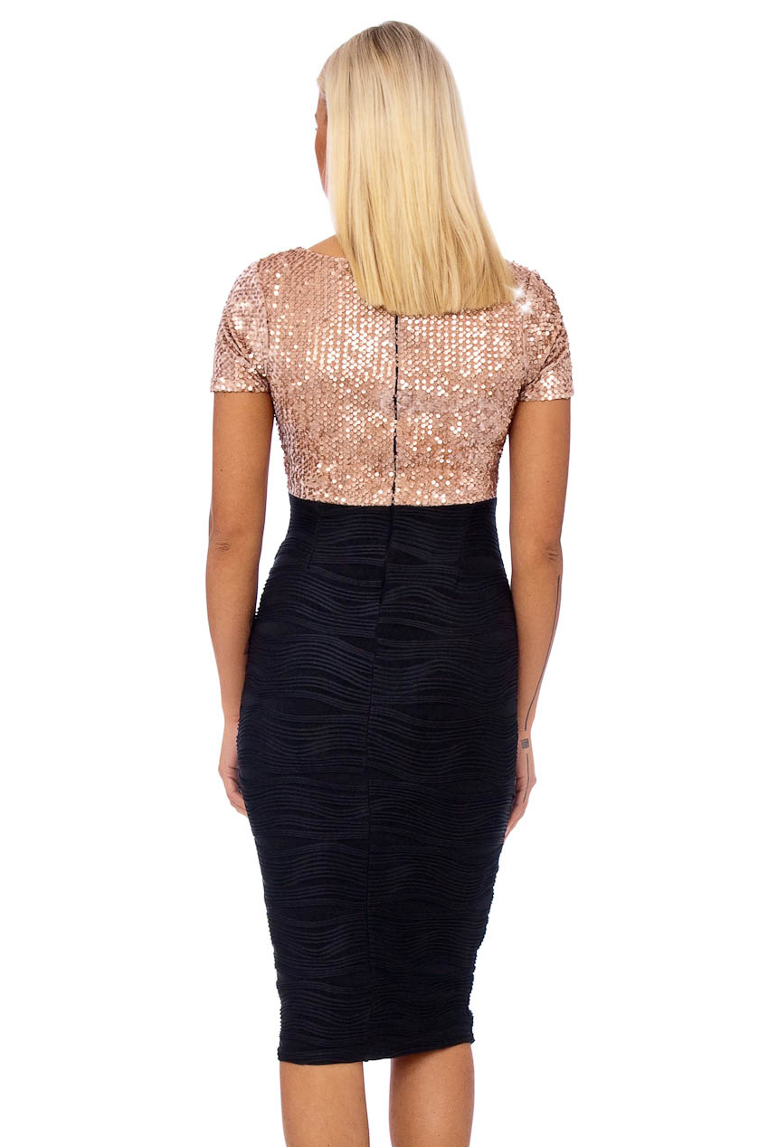 Vintage 50s Champagne Bianca Velvet Sequin Midi Dress