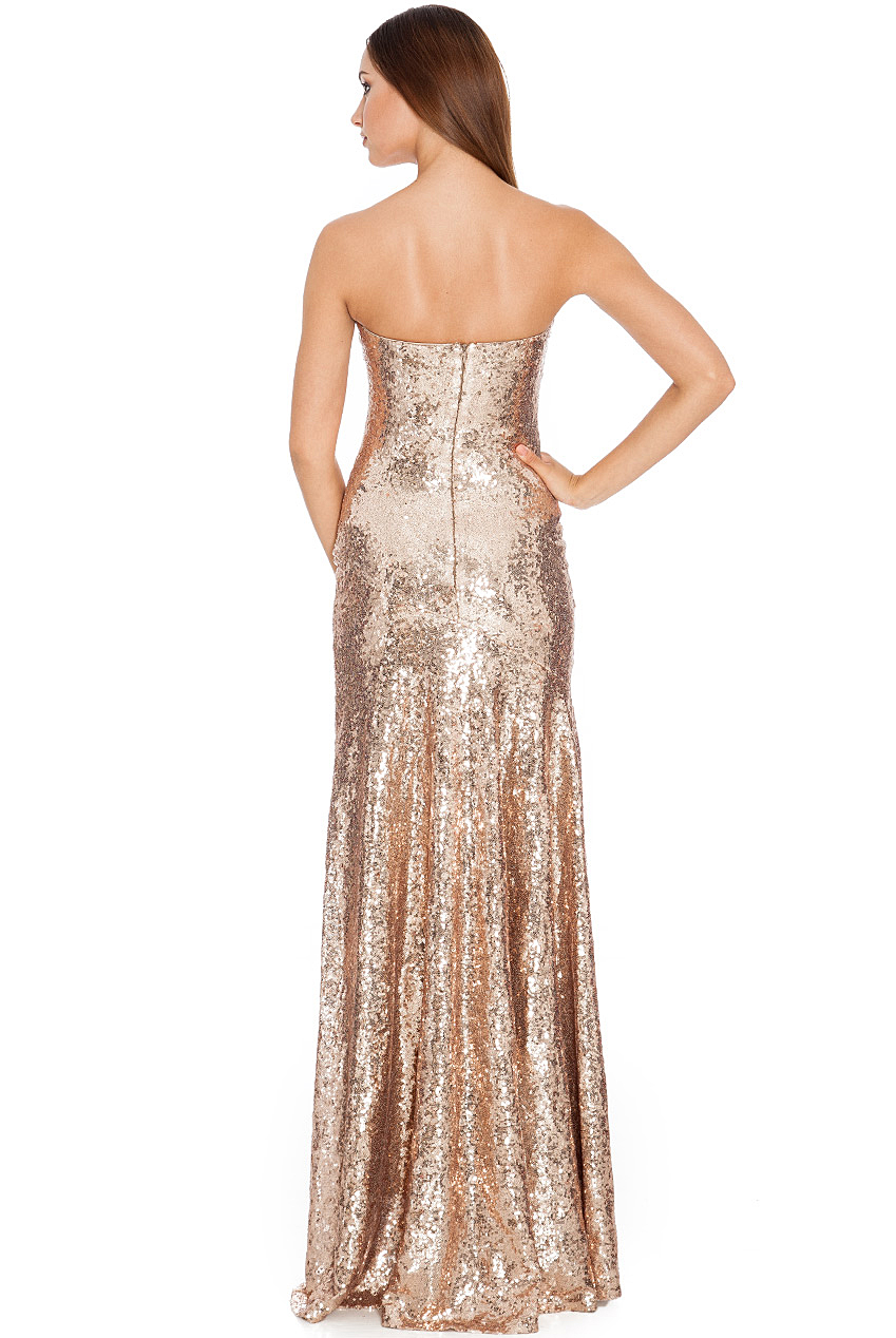 Strapless Sweetheart Maxi Sequin Dress