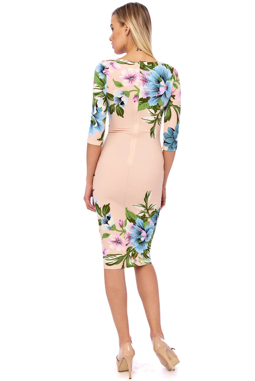 Ursula 60s Floral Wiggle Dress In Nude