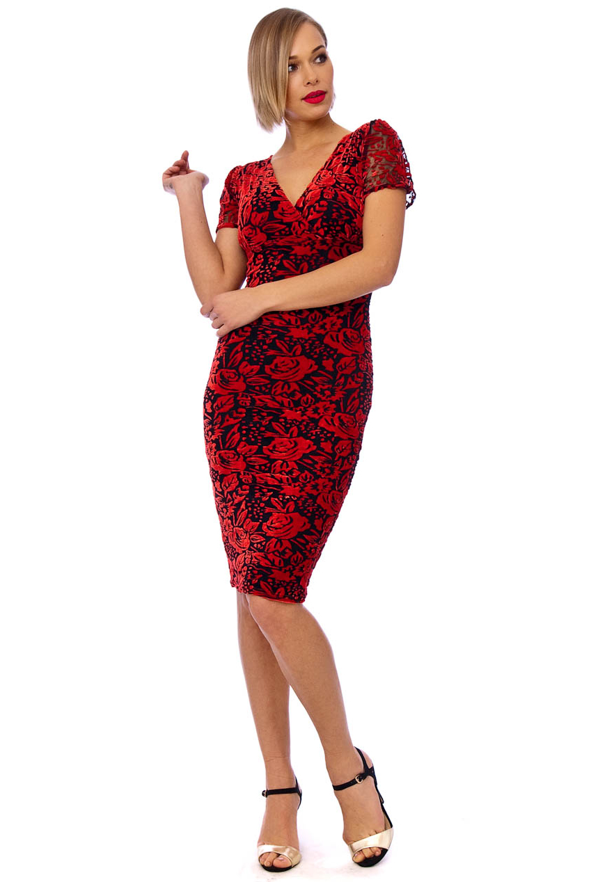 Vintage 50s Red Savannah Velvet Floral Dress