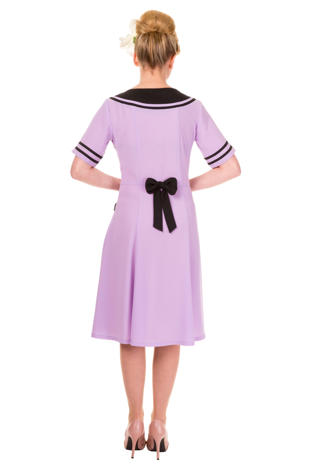 Eliza Lavender Vintage Bow Rockabilly Dress