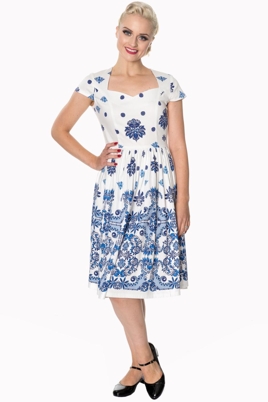 Dancing Days Follow You White 1950s Swing Dress