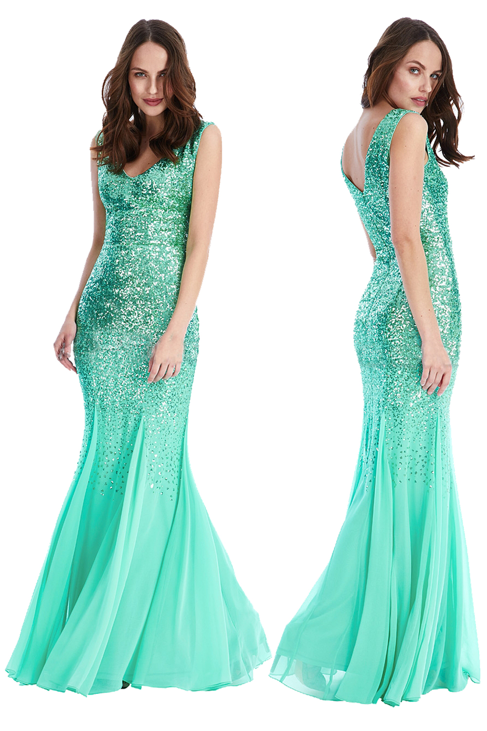 Green Sequin Francesca Maxi Prom Dress