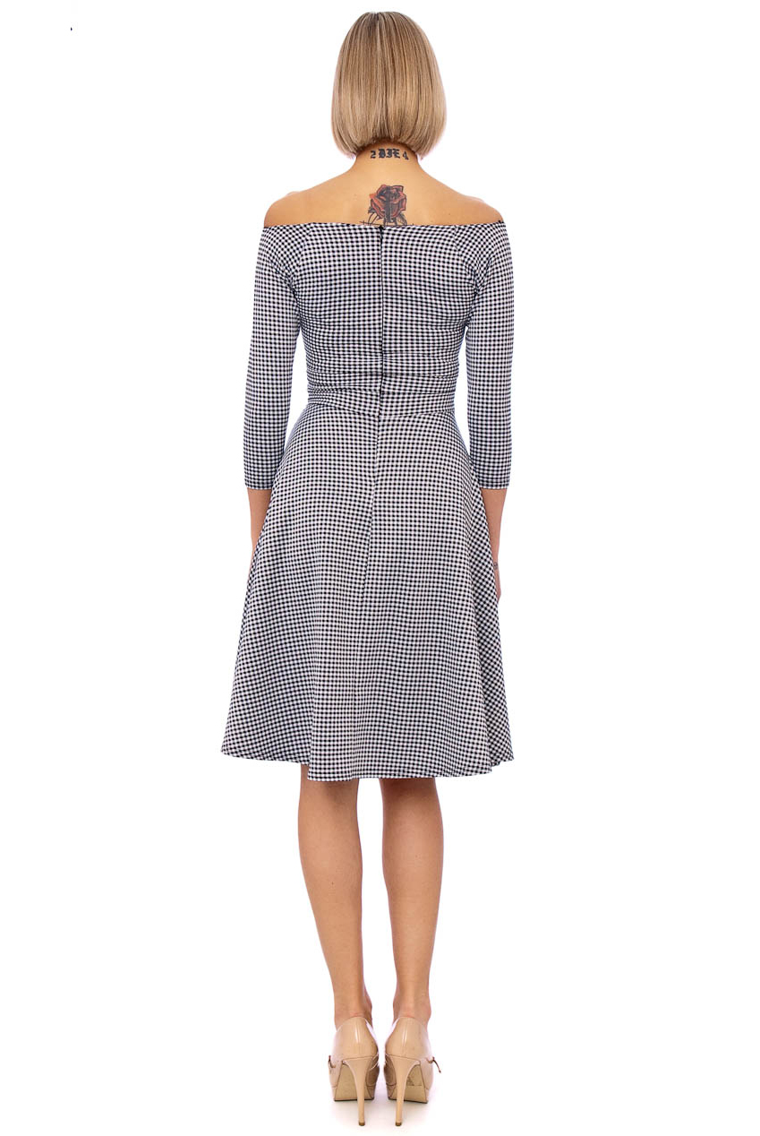 Christelle 50s Gingham Bardot Swing Dress In Black And White