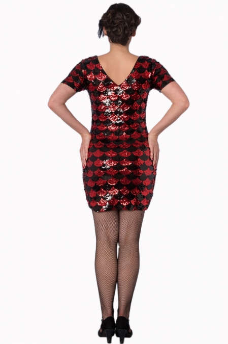 Black And Red Gatsby Harlequin Dress