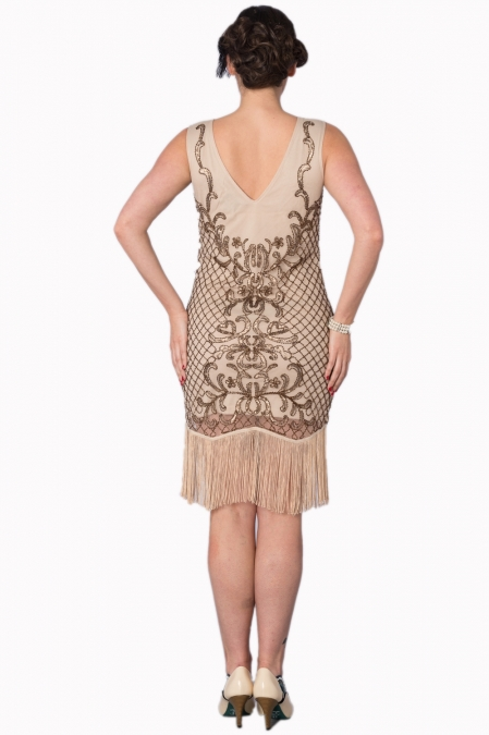 Great Gatsby Vintage Nude Sequin Dress