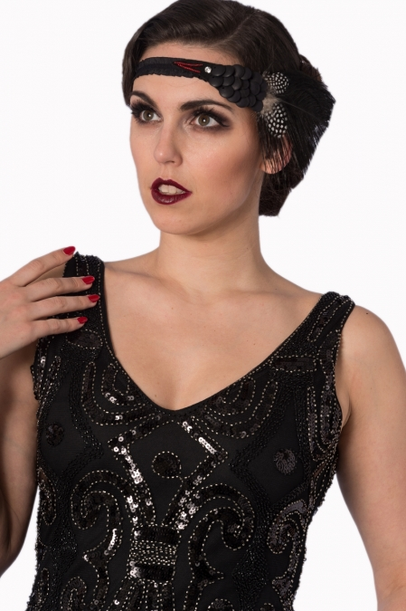 Black Flapper Mini Sequin Dress