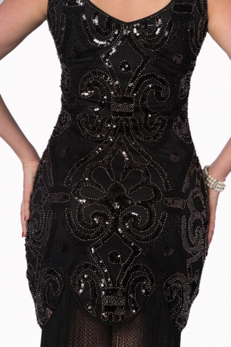 Black Flapper Gatsby Full Sequin Dress