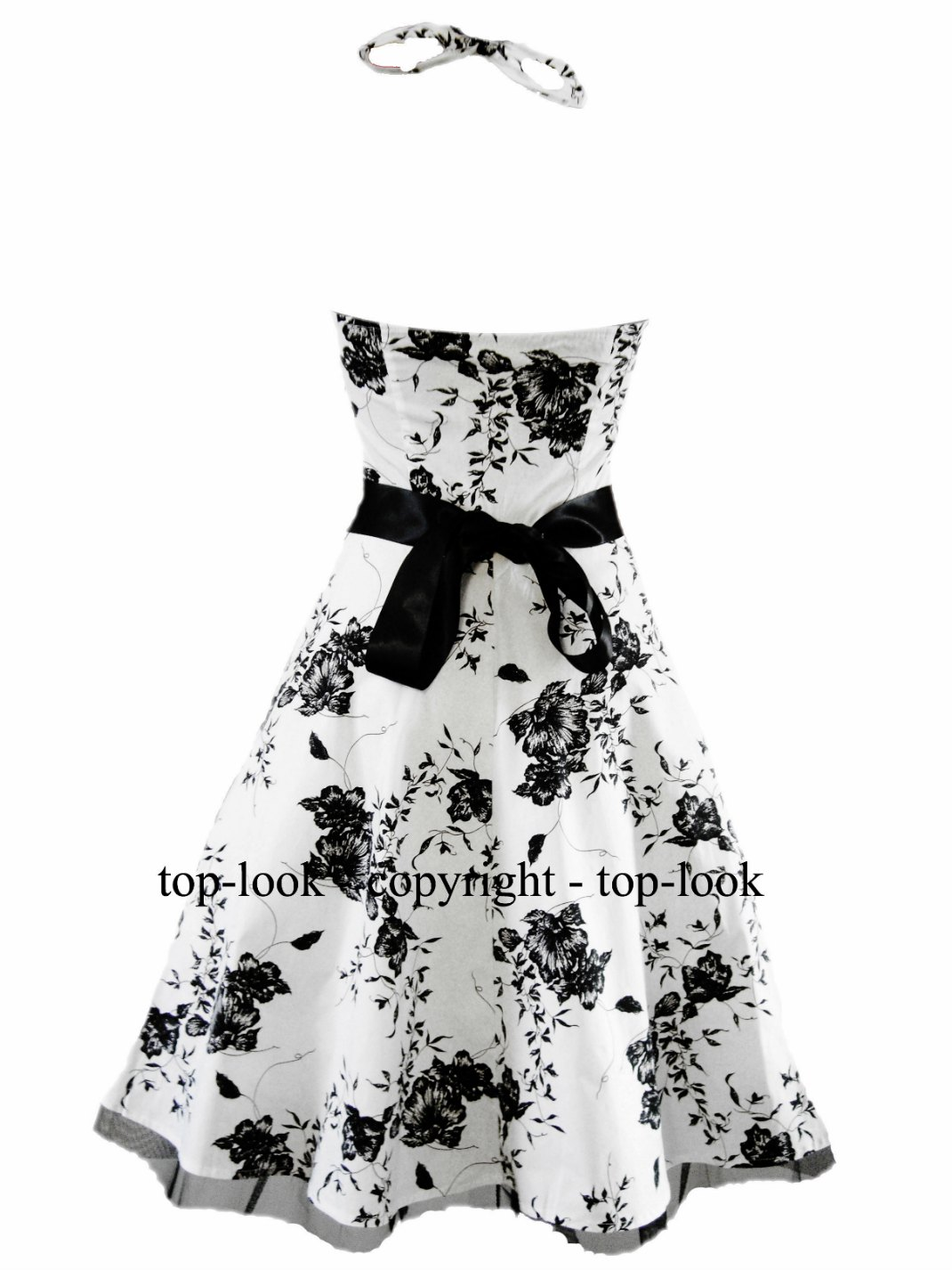Linda Blue Vintage 50s Midi Floral Swing Dress 1950s Prom Dresses