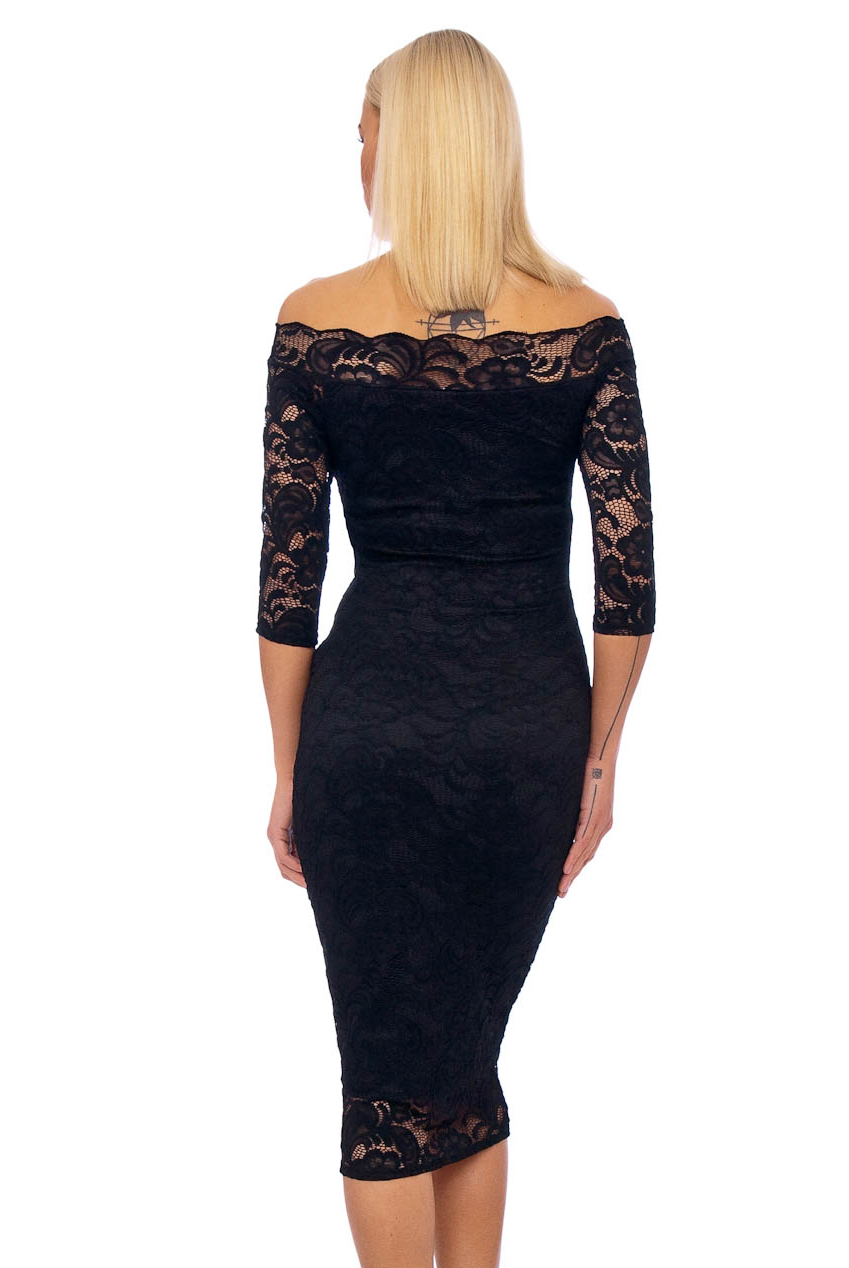 50s Julie Black Scalloped Lace Pencil Dress