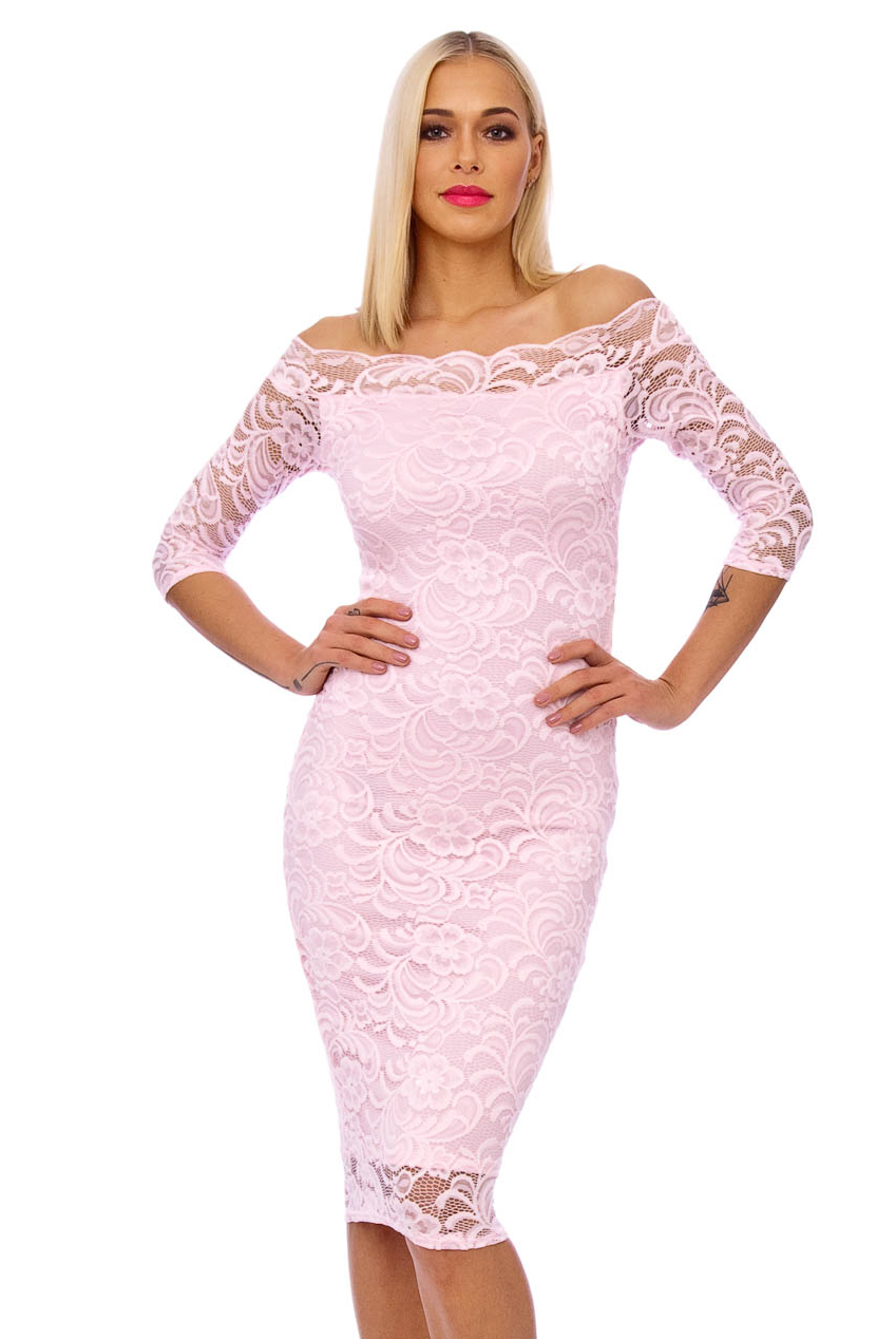 50s Julie Pink Scalloped Lace Pencil Dress
