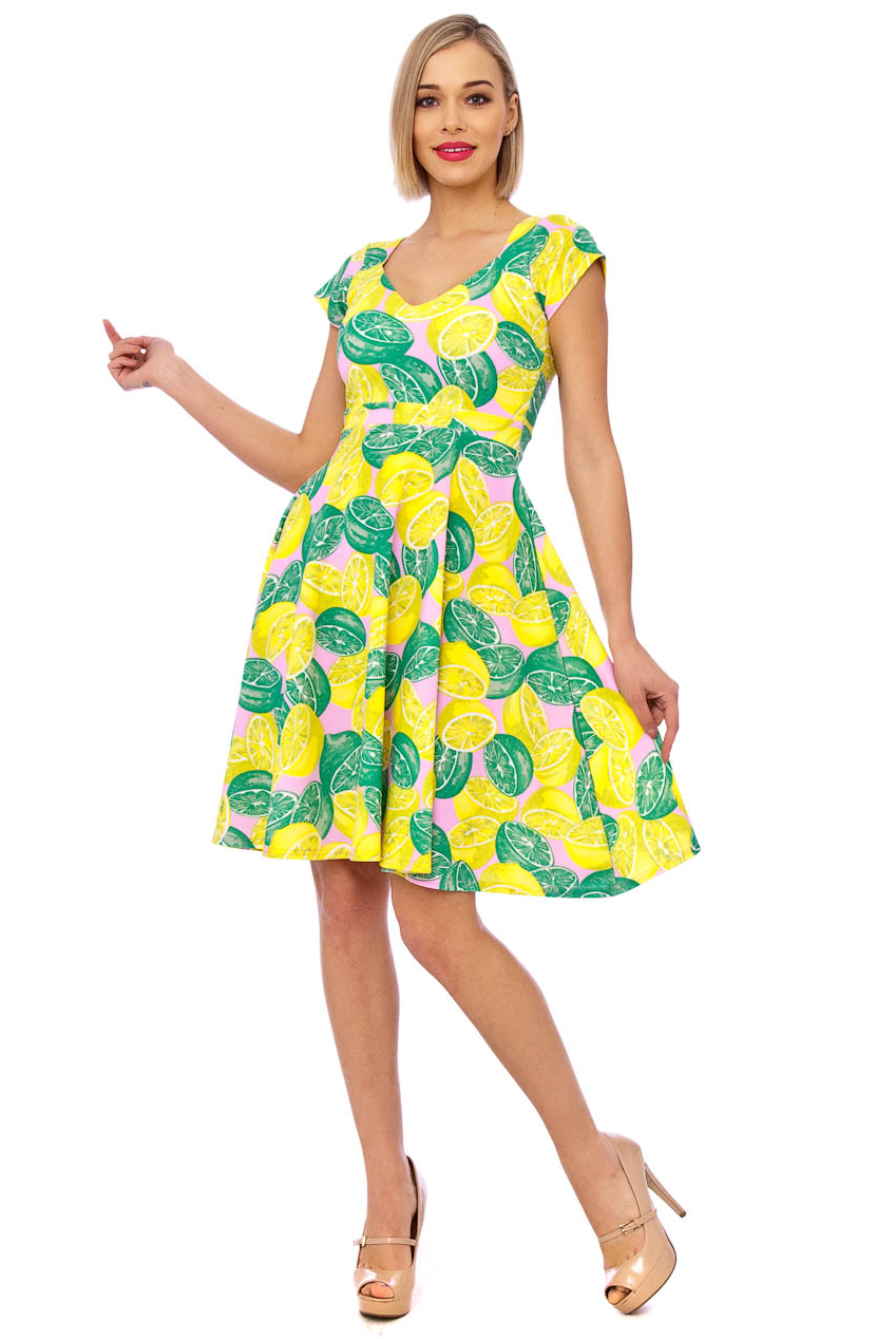 Lauren 50s Lemon Lime Swing Dress