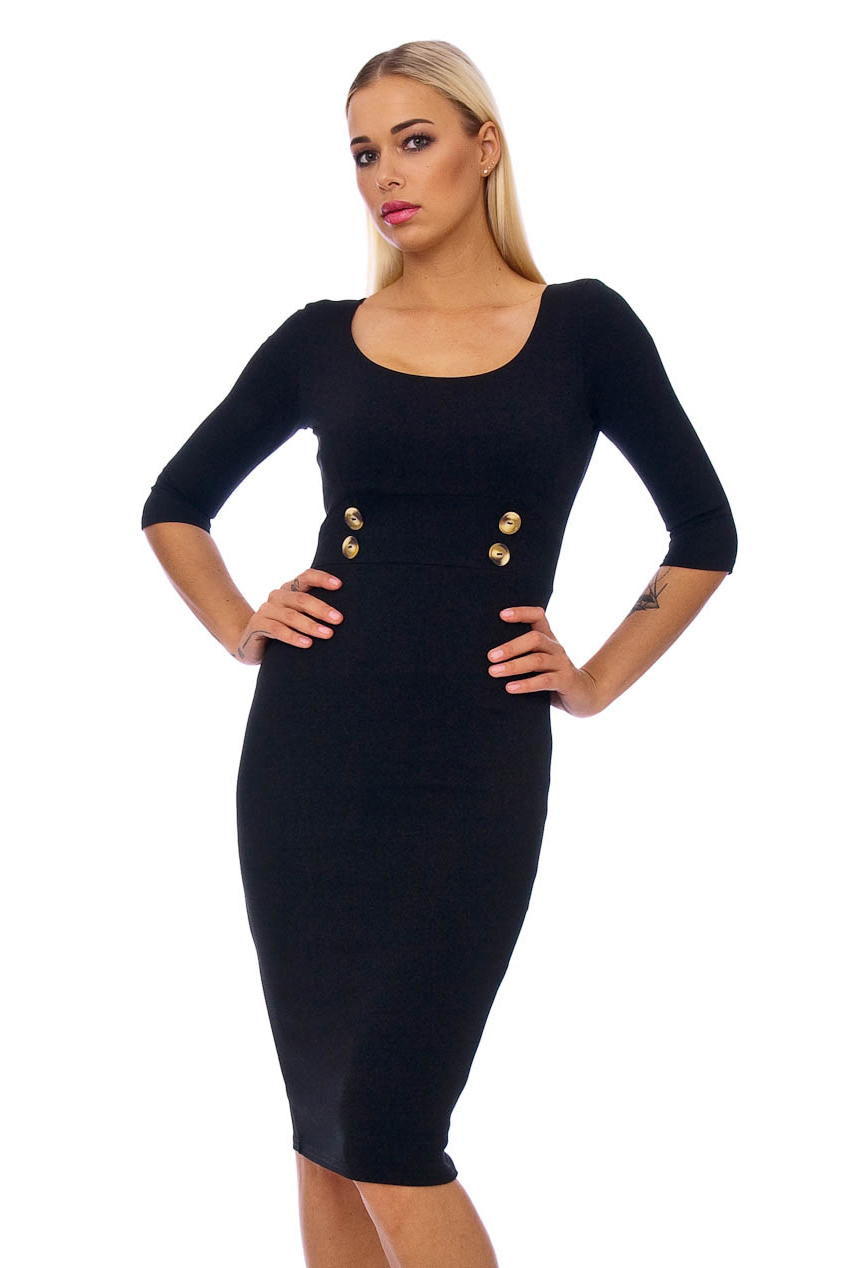 50s Lilly Black Pencil Midi Dress In Black