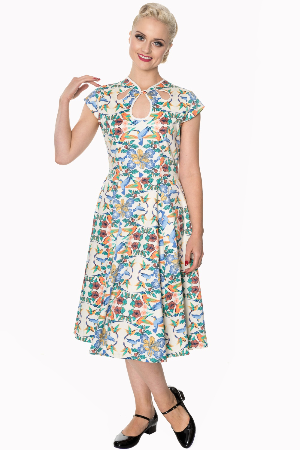 ancing Days Mandala 1950s Hummingbird Swing Dress