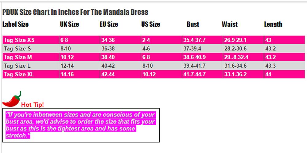 Mandala Dress Size Chart PDUK