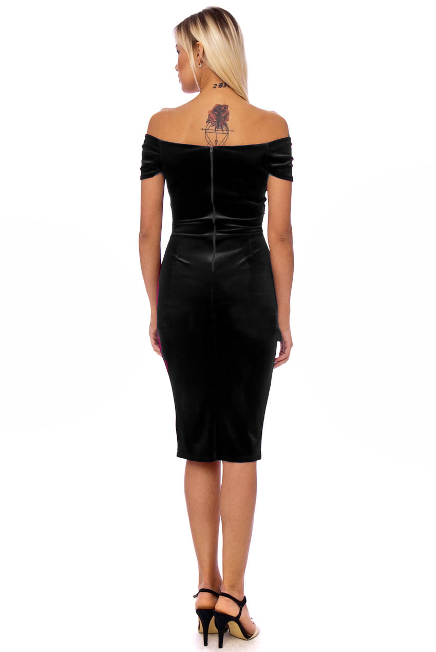 Vintage 50s Black Marilyn Velvet Pencil Dress