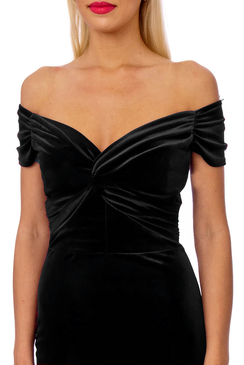 Vintage 50s Black Marilyn Velvet Wiggle Dress