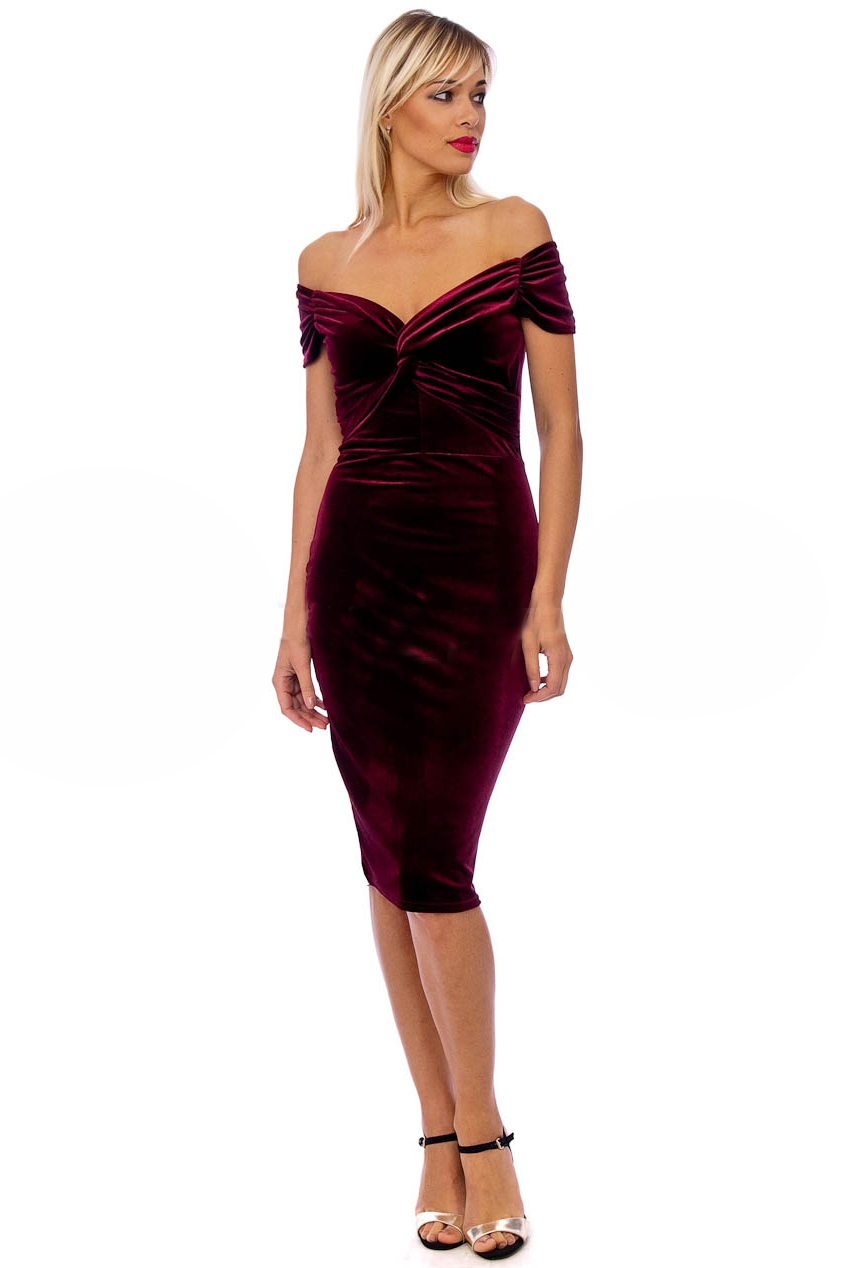 Vintage 50s Claret Marilyn Velvet Pencil Dress
