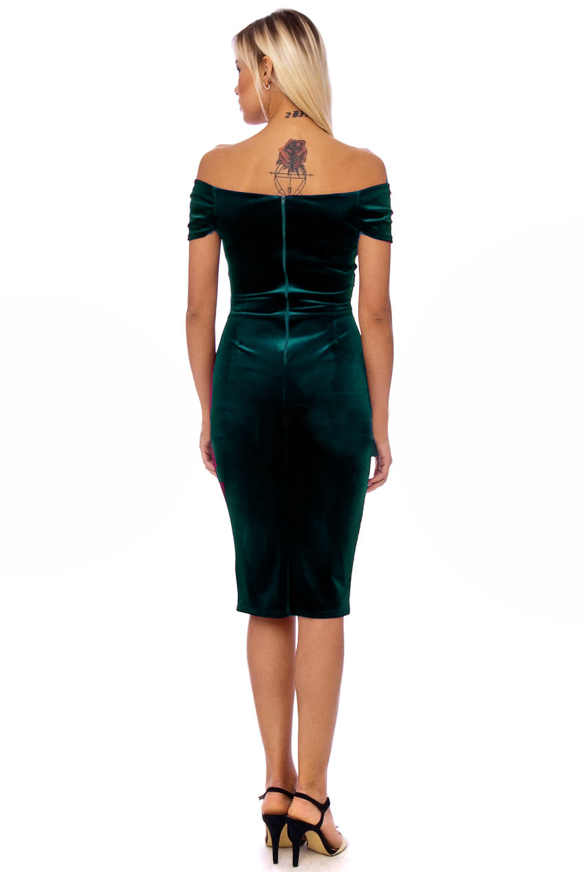 Vintage 50s Green Marilyn Velvet Wiggle Dress