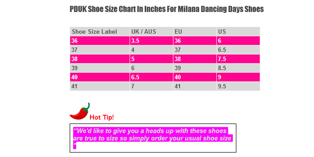 Dancing Days Milana Shoe Size Chart