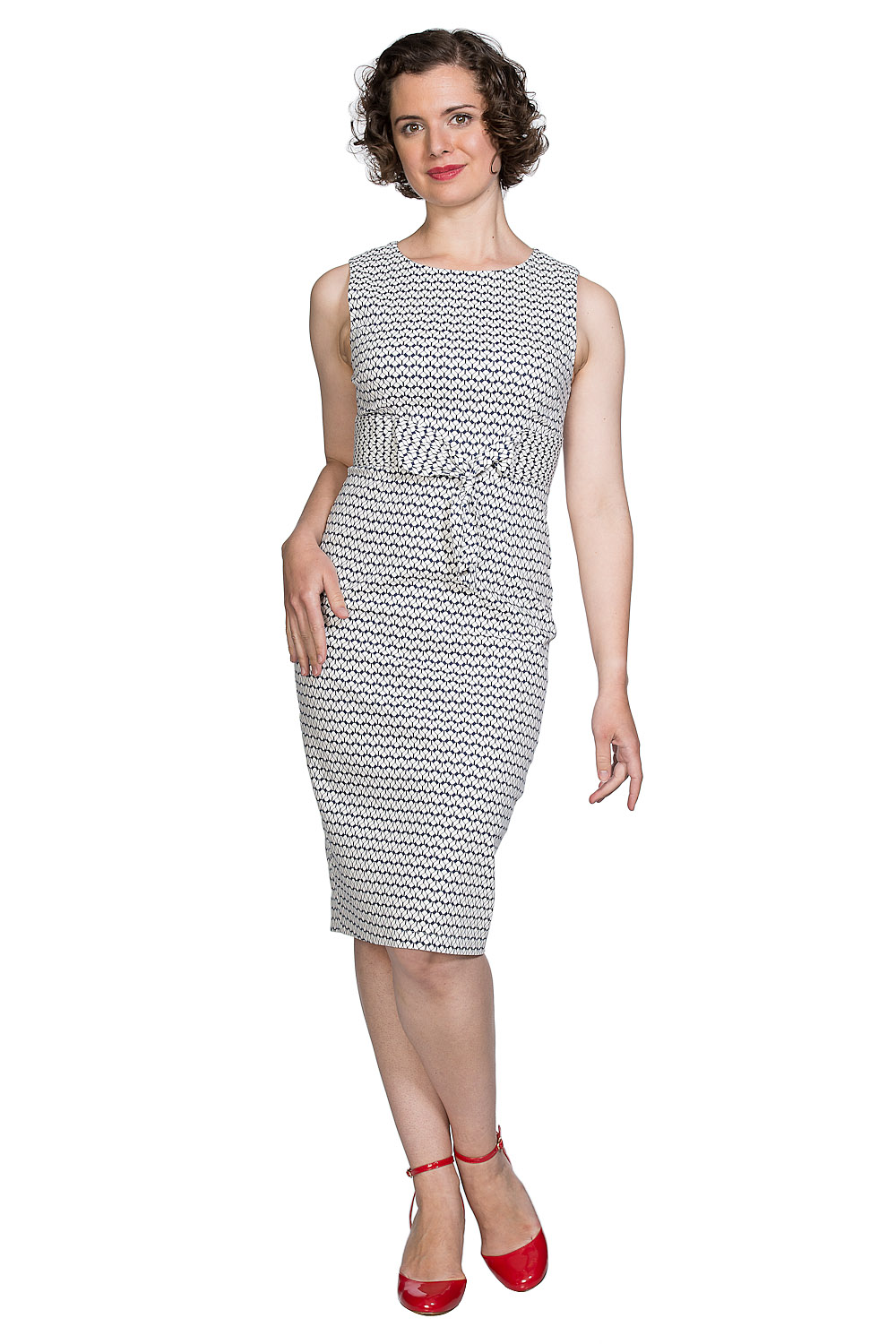 Banned Retro Sexy 60s Tile Wiggle Dress in Navy