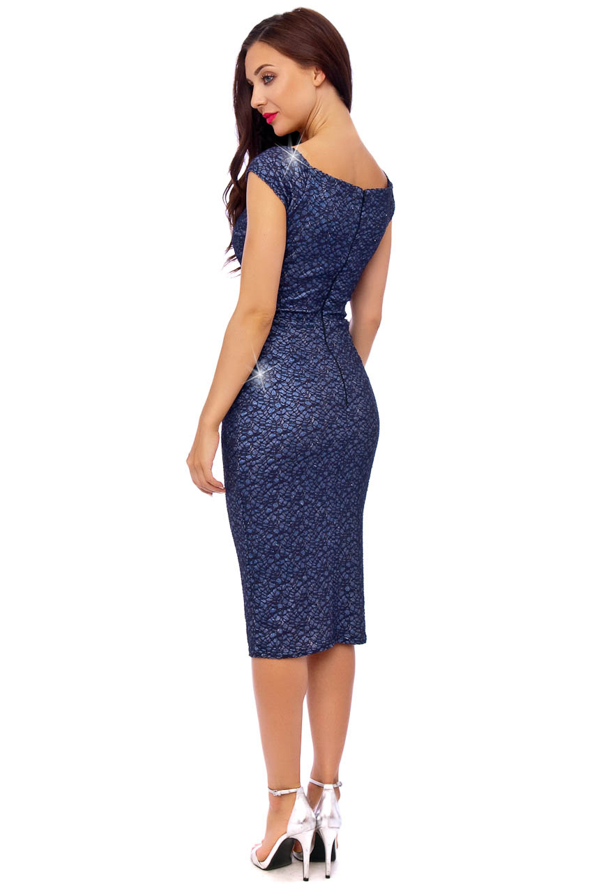 Zoe Navy Sparkle Vintage Midi Dress