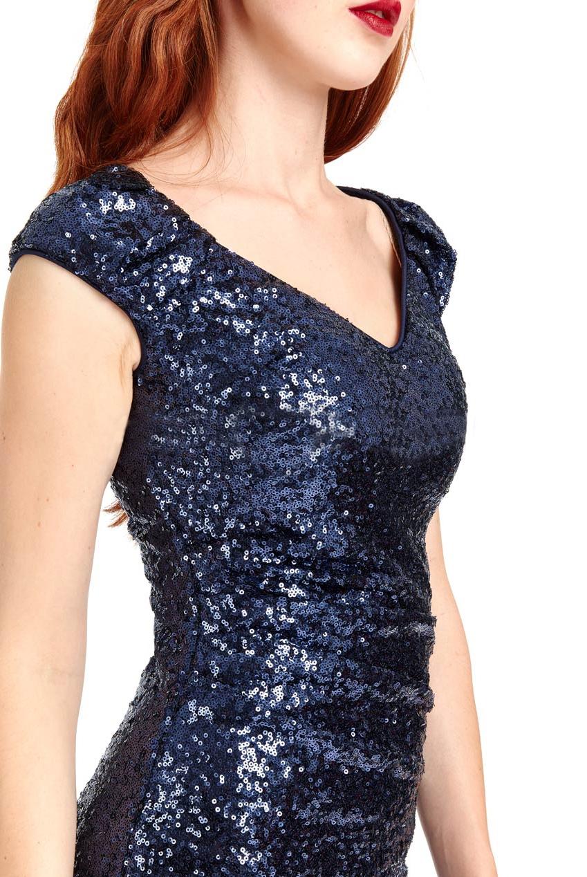 Navy Sophia Sequin Mini Vintage Dress