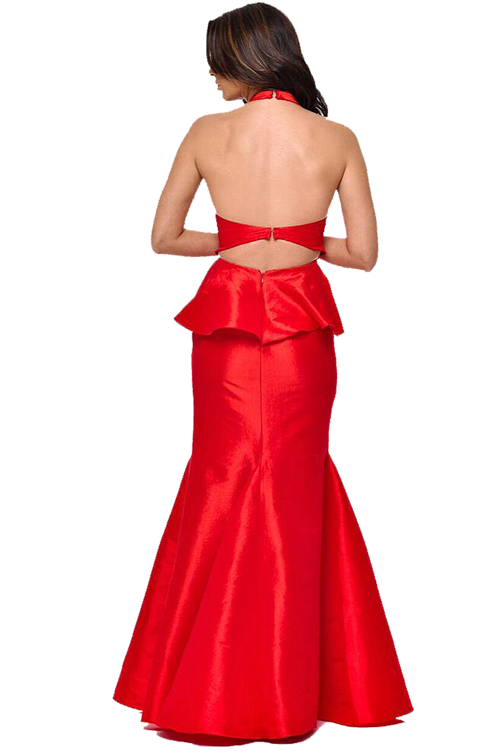 Red Backless Trumpet Maxi Prom Dress | Red Carpet Prom ...