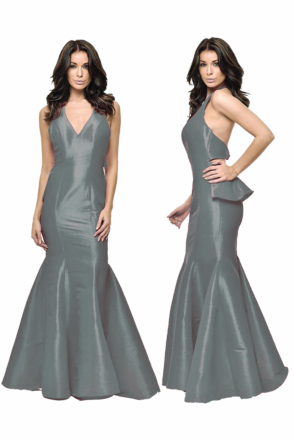 Slver Backless Trumpet Maxi Prom Dress 2016