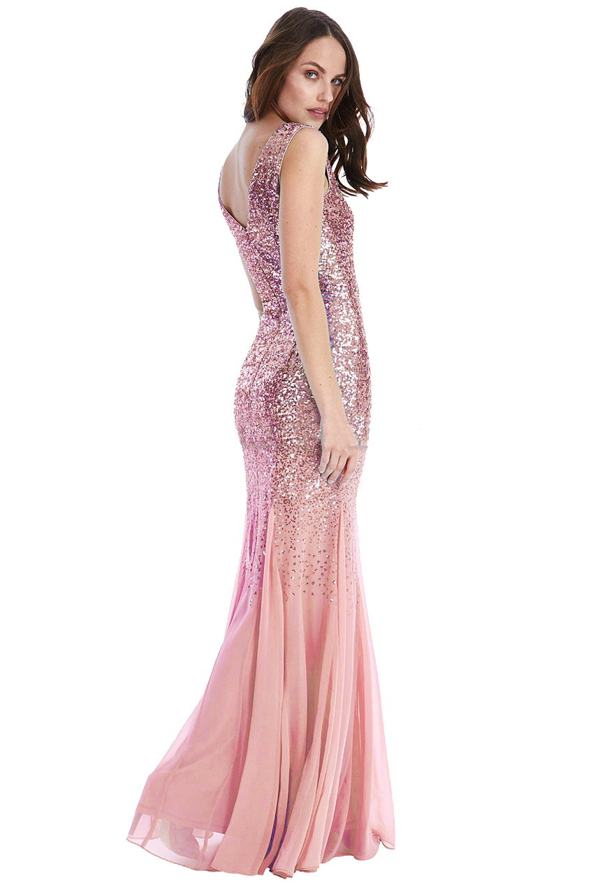 Pink Sequin Omari Maxi Prom Dress