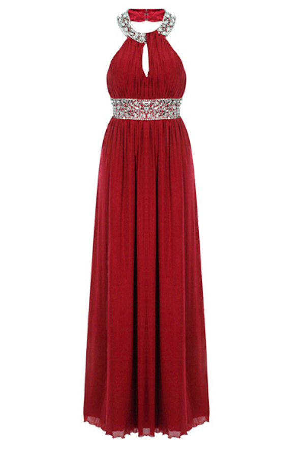 Burgundy Red Maxi Jewel Dress