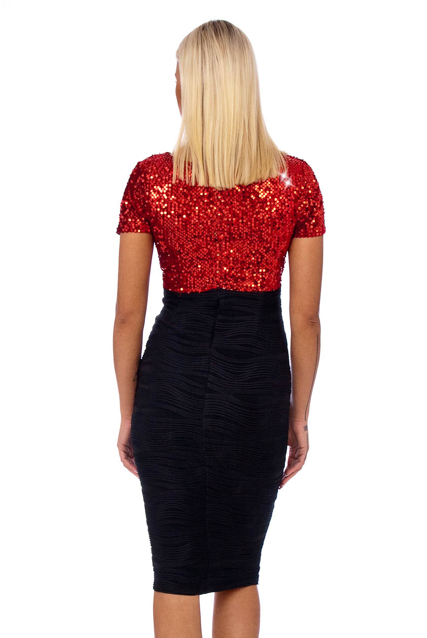 Vintage 50s Red Bianca Velvet Sequin Midi Dress