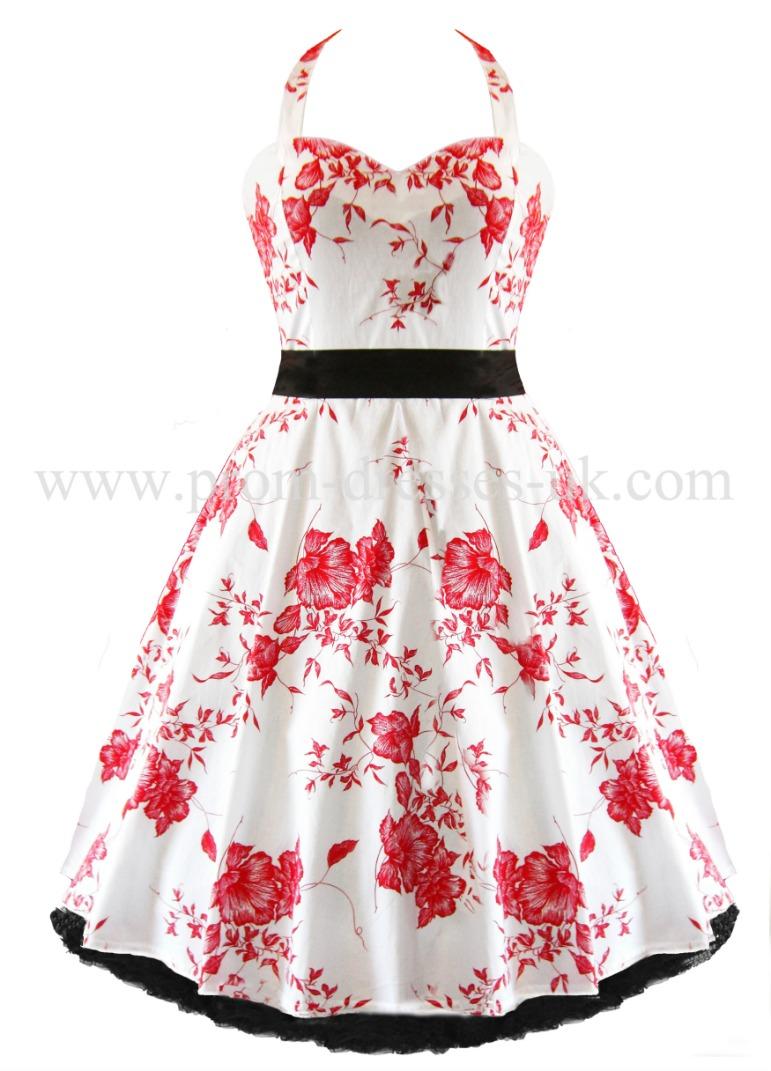 Red Floral Linda Dress